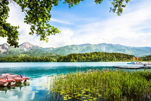 Boote am Faaker See in der Region Villach